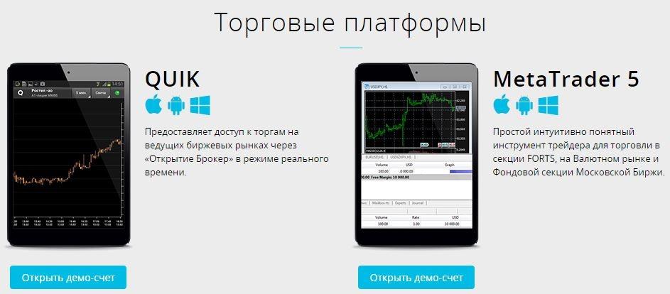 торговые платформы открытие брокер